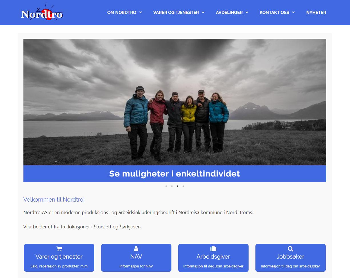 """Nordtro ASNordtro ønsket å få produsert sine nye nettsider i WordPress. Her er utvidelsen Elementor benyttet for å produsere sideinnholdet, for å gi kunden mulighet til å administrere innholdet i et avansert men brukervennlig """"dra og slipp""""-miljø.Besøk nordtro.no"""